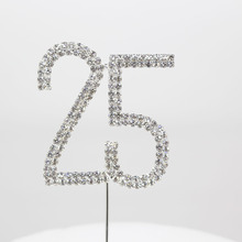 1pcs Fashion Birthday Party Rhinestone Cake Topper Wedding Decoration Silver Festival Glitter Anniversary Supplies Accessory(China)