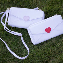 Summer easy wallet clutch girl's sweet love heart cross body bag white color compact messenger bag phone pouch love letter bag(China)