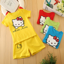 2 pcs/set 2017 New Cartoon Summer Hello Kitty Clothing T-shirt + Pant Fashion Kids Set Clothing 2-8 Years