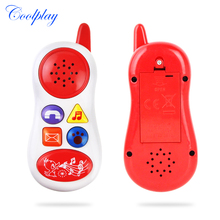 Educational Toy Gift Baby kids Cell Phone random colors new press button cartoon music talking sound(China)