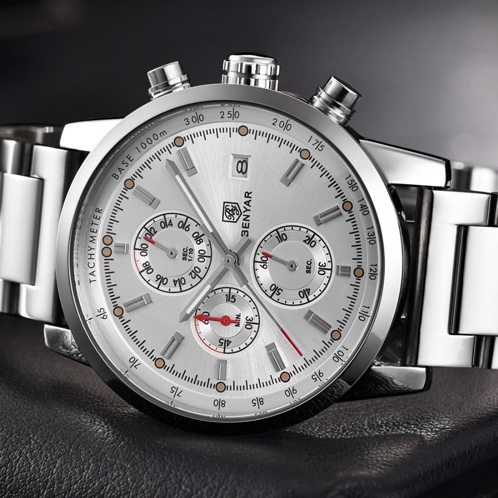 BENYAR Fashion Men Classic Brand Waterproof Sports Watches Stainless Steel Strap Military Quartz Watch Clocks Relogio Masculino<br>