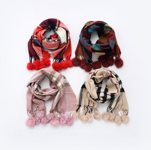 children Fur Bufandas bebe invierno Winter baby Plaid Cashmere scarves rabbit fur balls boys girls Pure warm Series collar scarf
