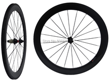 WS-CW06 : 3K Carbon Glossy Cycling Road Bike Clincher Wheelset 60mm 700C Bicycle Wheel Rim Basalt Brake Side