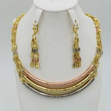 2017New High Quality Italy 750 Jewelry Sets Fashion Parure Bijoux Femme Dubai Arican Earrings Necklace China Choker(China)