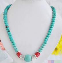 Free Shipping 004906 Tibet Cultural round fine stone bead red coral necklace(China)