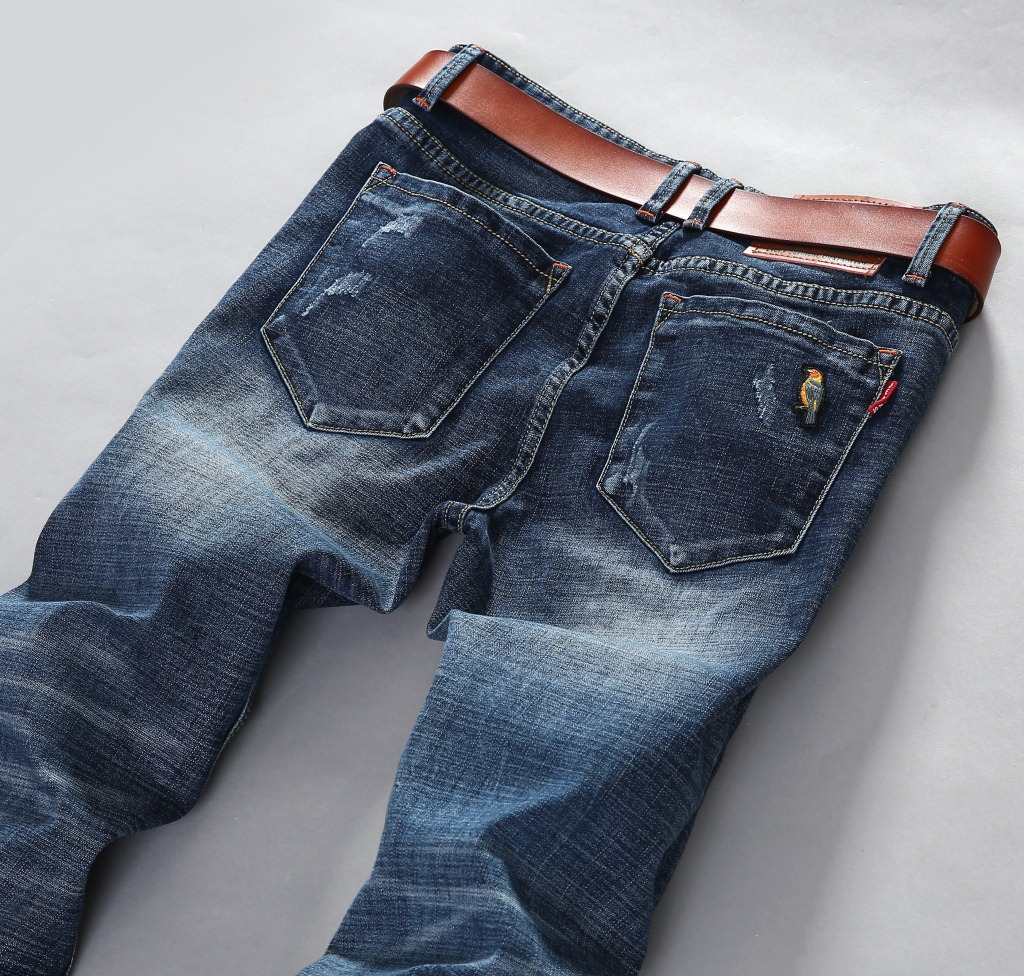 2017 New Design Fashion Classic Blue Jeans Men Stretch Jeans Famous Brand Slim Fit Pencil Jeans Elastic Spandex Jeans Size To 38Одежда и ак�е��уары<br><br><br>Aliexpress