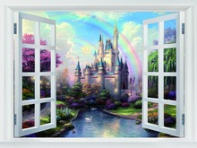 Castle Painting Art Fake Windows Best Sale Classical Home Decor Poster Size (50x75cm) Canvas Print Free Shipping