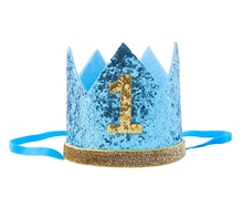 Boy Blue Silver First Birthday Hat Girl Gold Pink Priness Crown Number 1st 2 3 Year Old Party Hat Glitter Birthday Headband(China)