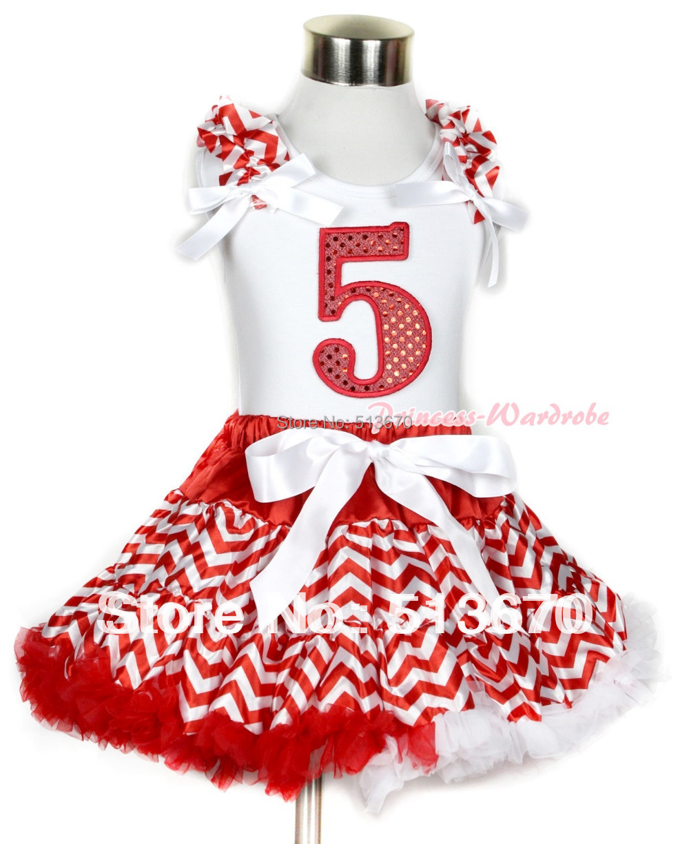 Xmas White Tank Top 5th Sparkle Red Birthday Number Red White Wave Ruffles &amp; White Bow &amp; Red White Wave Pettiskirt MAMG750<br>