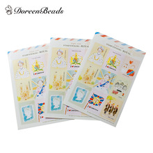 DoreenBeads Paper Multicolor DIY Deco Stickers Postage Stamp Royal Mixed Pattern At Random Scrapbooking Craft 37 x 28mm, 5 Sets(China)