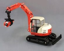 Grapple truck model scale 1:50 ABS Alloy Diecast truck model rubber caterpillar grapple truck with shovel engineer machine toys