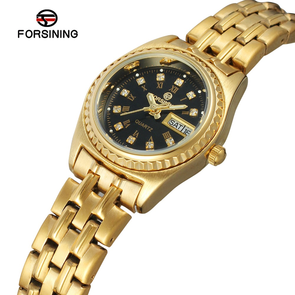 Forsining Mens New Arrival Quartz Wristwatches Stainless Steel Bracelet Black Color Dial with Stones Date Week Function Clock<br>