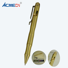 ACMECN 74g Hand-made Brass Ballpoint Pen with Glass breaker Tool Pen for Outing Camping Tactical Survival Self Defense Pen(China)