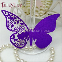 Laser Cut Paper Butterfly Name Place Cards Cup Card Purple Wine Glass Cards Wedding Table Decorations Can Be Customized 50pcs(China)