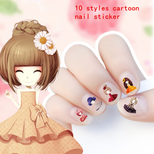 2018 New link cartoon Waterproof Nails Sticker princess and animal Design Nails Foil Sticker Decor Decals makeup for children(China)