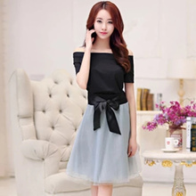 Women Clothing Set 2017 Summer Elegant Slash Collar Short Sleeve Black Top Bow Mesh Knee Length Skirt 2 Piece Set Skirt Top S23