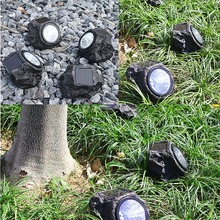 2PCS Solar Decorative Rock Stone Lights Resin Material 4 LED Outdoor Garden Yard Lawn Lamp Imitation Stone Appearance