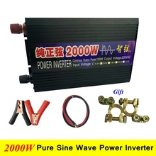 Peak Power 2000W Pure Sine Wave DC/AC Inverter Digital Display 95% Efficiency DC 12V/24V to AC 220V Power Inverter Converter