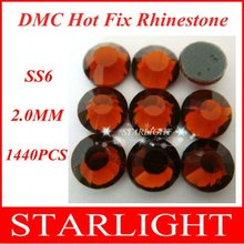 Wholesale,FREE SHIPPING,DMC hot fix rhinestone,Smoked Topaz Color ss6,China post air mail free,1440pcs/lot star15(China)