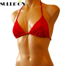 Hot Sexy Bikini Body Chain Necklace Woman Jewelry Silver Gold Color Thin Bodychains Summer Swimsuit  Rihanna Silver Waist Chain