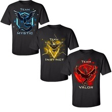 Pokemon Go Team Valor/Instinct/Mystic T Shirt Cosplay Costume Red Yellow Blue T-Shirt Cotton Tee