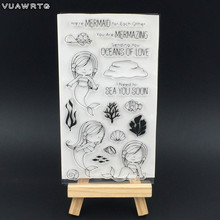 VUAWRTG Mermaid Transparent Clear Silicone Stamp/Seal for DIY scrapbooking/Card Making/photo album Decorative clear stamp sheet