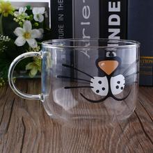 Lovely Cat Boronsilicate Glass Coffee Cup Home Transparent Clear Water Mug 550ML