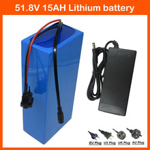 750W 52V 15AH lithium battery 51.8V Electric Bicycle battery 14S 51.8V EBike motorcycle battery 52V 15AH 58.8V 2A charger