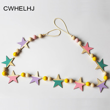 Nordic Wooden Beads Stars Hanging Banners Baby Room Wall Hanging Decoration Kids Tent Decor Ornaments Photography prop Gift(China)
