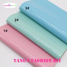 3 pcs-20X22CM High Quality DIY BABY COLOR FLUO PU glossy leather set synthetic leather  /DIY fabric CAN CHOOSE COLOR