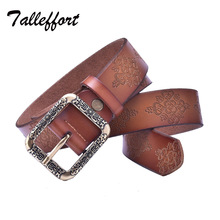 High quality metal genuine leather Cowskin pin buckle designer brand belt for women jeans vintage fashion dresses accessories