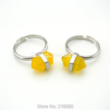 H-R03 Healing Stone Terminated  Yellow Jades Ring Silver Adjustable Ring