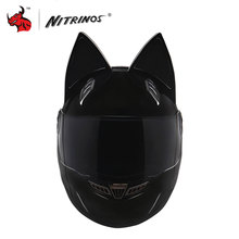 NITRINOS Men/women Personality Moto Capacete Black Cat Helmet Full Face Motorcycle Helmet Fashion Motorbike Helmet Black(China)