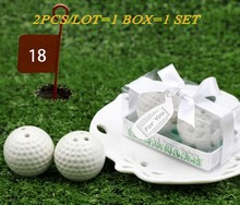 2pcs/lot=1box=1set 2016 Newest Wedding and Party Favors A Leisurely Game of Love Golf Ball Salt and Pepper shakers Wedding gift