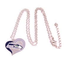 Drop shipping Seattle Seahawks Football team logo Swirl Heart charm with link chain sport Necklace Fans collection(China)