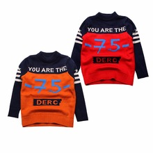 Thick Boy Sweaters 75 Letter Cotton Kids Sweater Autumn Toddler Crochet Sweaters Winter Children Clothes New Boys Clothing 3-6Y