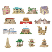 Chanycore Baby Learning Educational Wooden Toys 3D Puzzle Building Tiananmen White House Villa Tower Chinese Kids Gifts 4310(China)