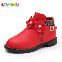 Red pink white velvet warm girls boots 2017 autumn winter children fashion cotton snow boots flowers leather princess shoes kids(China)