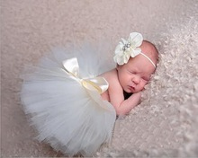 foreign trade new baby TUTU skirt + flower Headband 2 piece set ,NEWBORN Photography Props clothes 0-1M or 3-4M(China)
