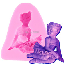 F1142 FREE SHIPPING 2015 New Food-grade Little Girl Shape 3D silicone Mold Cartoon Figure/cake tools Soap Mold Decoration