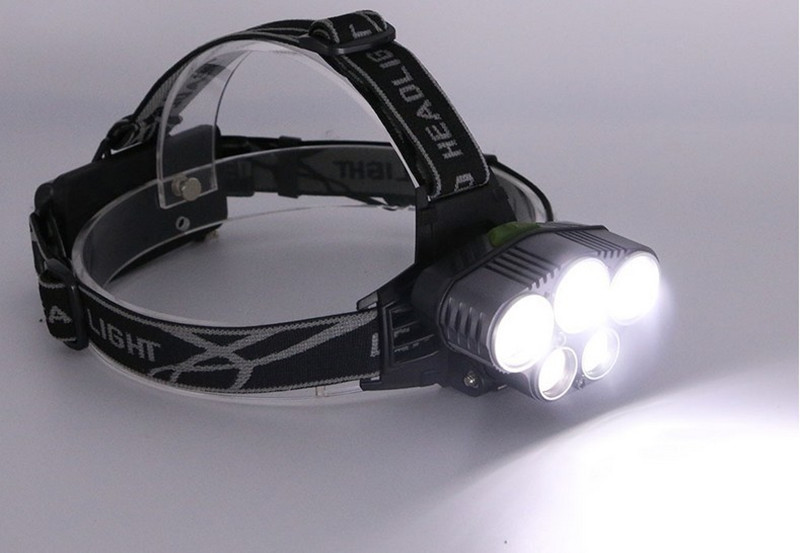 ZPAA LED Headlight 5 LED 15000Lumen USB Rechargeable LED Head Lamp 6 Modes 3xXML T6 + 2xQ5 18650 Headlamp Blue Fishing Lights