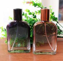 100ml Black and Brown Color  Flat Round Shoulder Spray Automizer Glass Perfume Bottle