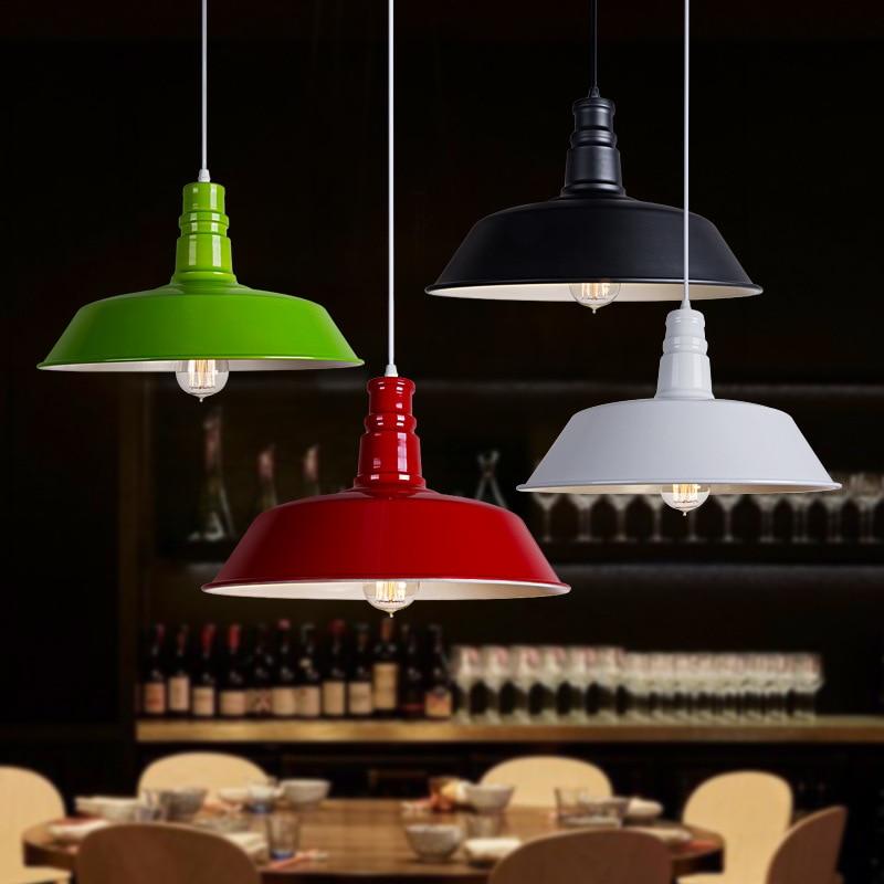 Diameter 26cm E27 Pendant light Black/White/Red/Green Metal Lamp Restaurant Coffee Shop Dining Room Hanging Light Fixture WPL053<br>
