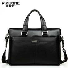 P.KUONE Famous Brand Natural Genuine Leather men bag Fashion business Briefcase Best Shoulder Laptop Bag Formal Handbags