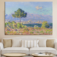 Print Canvas Art Claude Monet Antibes View from Notre Dame De Paris Landscape Oil Painting Poster Wall Picture for Living Room(China)