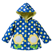 Cheap Sale Waterproof Kids Raincoat Polka Dot Floral Wind Resistant Kids Hooded Rain Coat For Kids Rainwear Regenjas(China)
