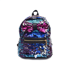 2017 mochila New Arrival Women All-match Bag PU Leather Sequins Backpack Girls Small Travel Princess Bling Backpacks