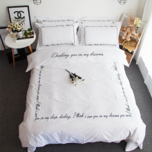 4pcs 100% Cotton 60S Satin bed linen Luxury White duvet cover set with black words embroidered bedding queen size