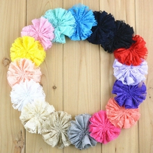 "100pcs/lot 3"" Artificial Solid Lace Flower Flat Back Kids Garment Hair Accessories Chiffon Fabric Flowers Bulk For Headband DIY"