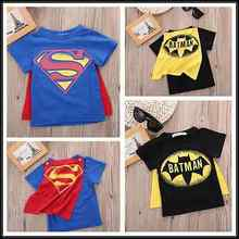 2016 Kids Boys T-shirt Tops with Cape Superman Batman Children summer Short Sleeve t-shirt Tee tops Baby Boys Clothes custume